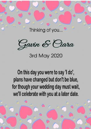 Thinking of you Wedding Postponed Card Hearts Grey